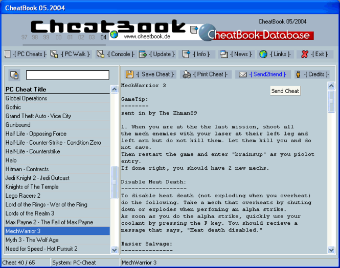 CheatBook Issue 05/2004 Screenshot