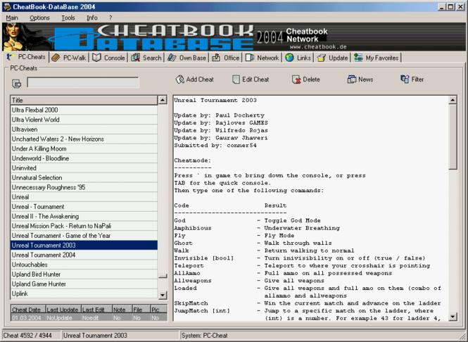 CheatBook-DataBase 2004 Screenshot 1