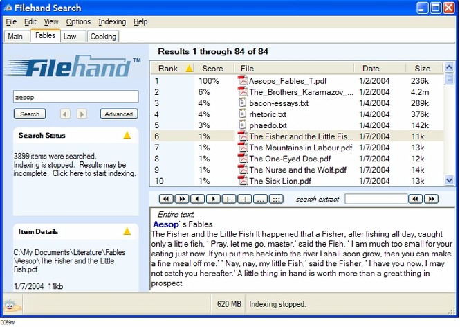 Filehand Search Screenshot