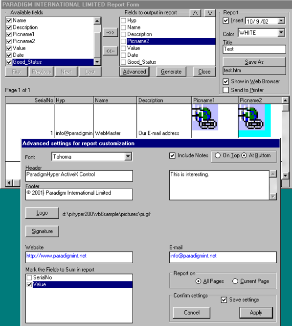 Paradigm Hyper ActiveX Control Screenshot