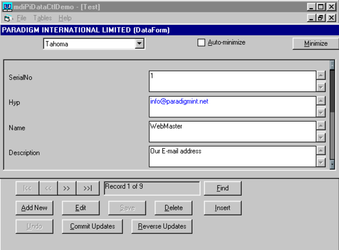 Paradigm Data ActiveX Control Screenshot