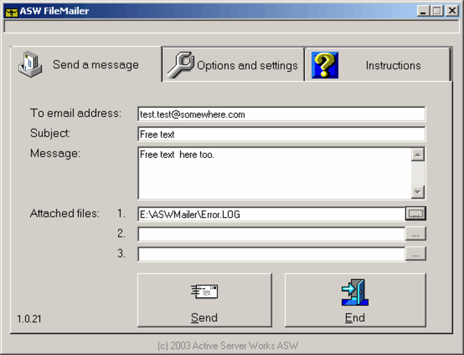 ASW FileMailer Screenshot