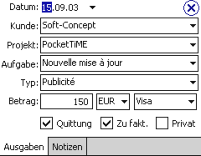 PocketTiME Deutsch Screenshot
