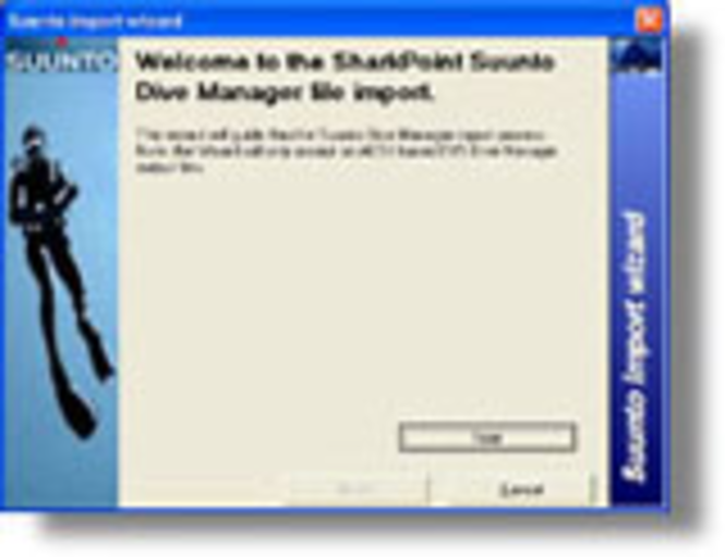 Suunto CSV Dive Manager logbook Import for SharkPoint for Windows Screenshot