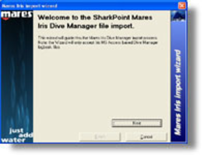 Mares Manager logbook Import for SharkPoint for Windows Screenshot