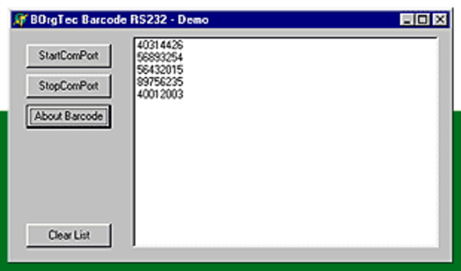 Barcode Scanner RS232 ActivX Corporate Screenshot