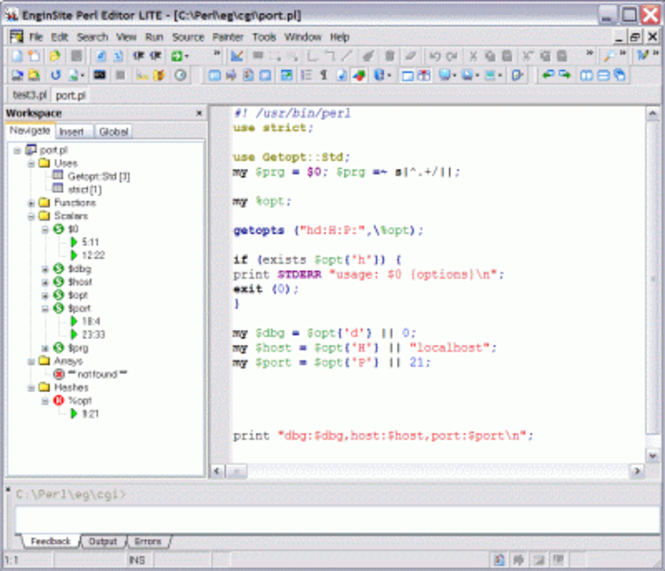 EngInSite Perl Editor Lite Screenshot 1