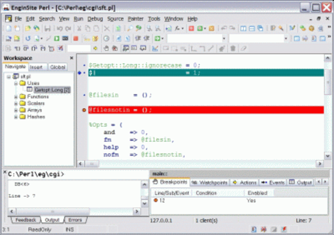EngInSite Perl Editor Professional Screenshot