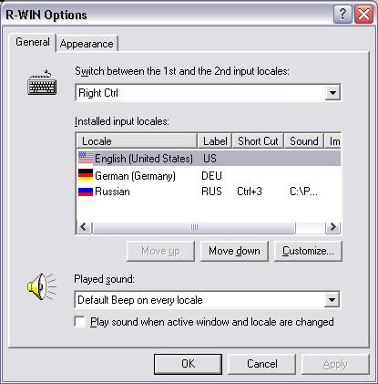R-WIN 2000 Keyboard Switch Screenshot