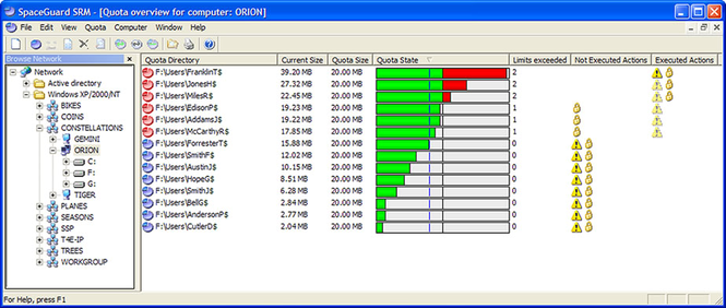 SpaceGuard SRM - Disk Quotas Manager Screenshot