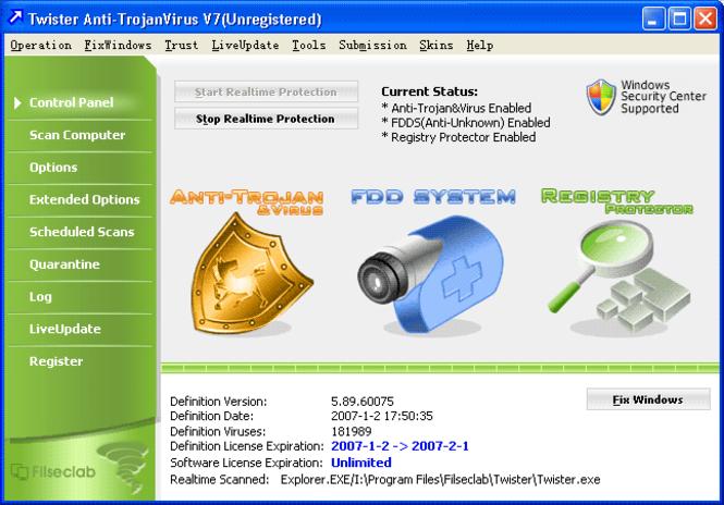 Filseclab Twister AntiVirus Screenshot