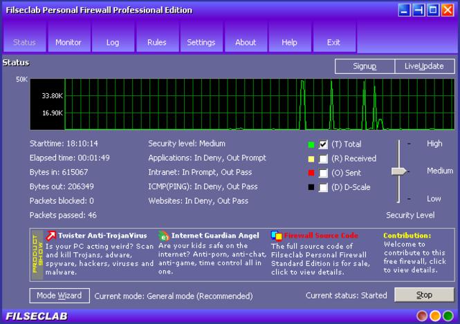 Filseclab Personal Firewall Professional Screenshot 1