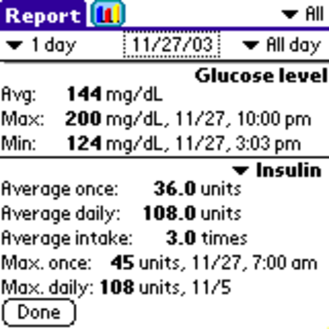 UTS Diabetes for Palm OS Screenshot 2