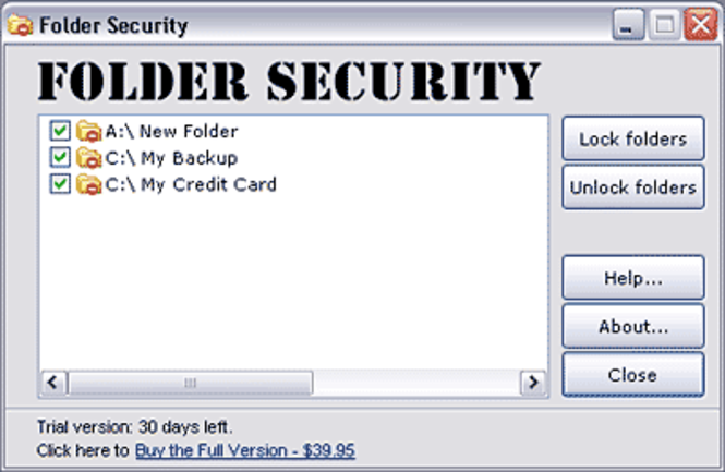 Folder Security 2.6 Screenshot 1