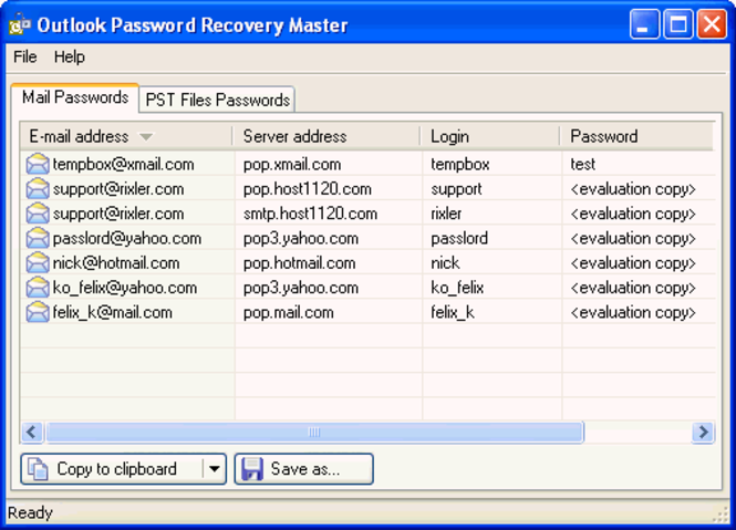 Outlook Password Recovery Master Screenshot 2