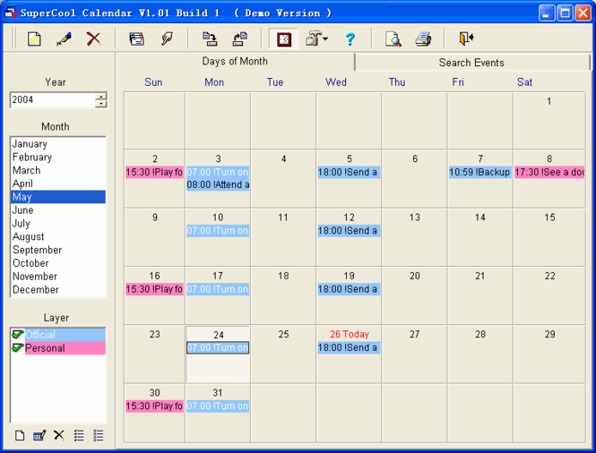 SuperCool Calendar Screenshot 2