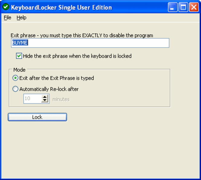 KeyboardLocker Screenshot