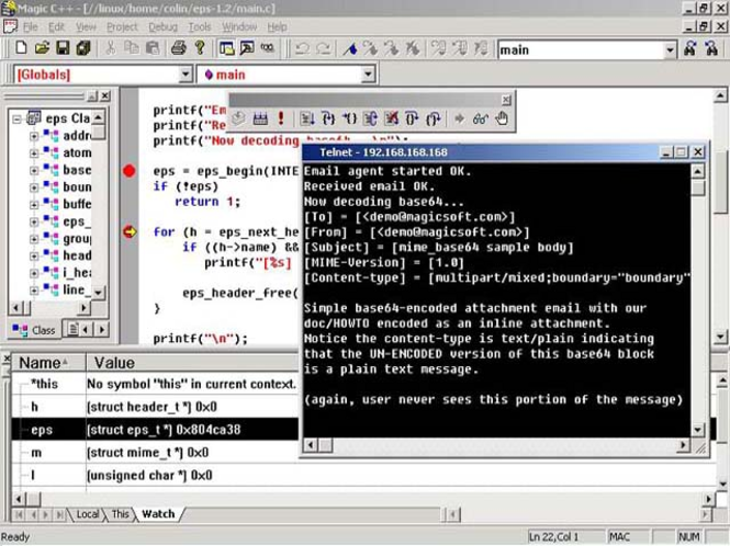 Magic C++ - The Visual Remote Unix/Linux IDE Screenshot