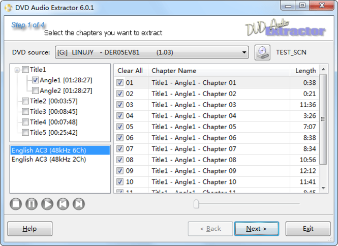 DVD Audio Extractor Screenshot 1