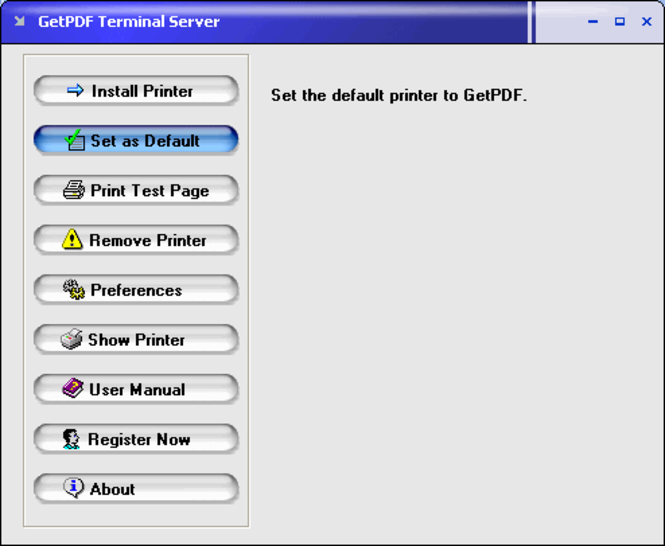 GetPDF Terminal Server Screenshot