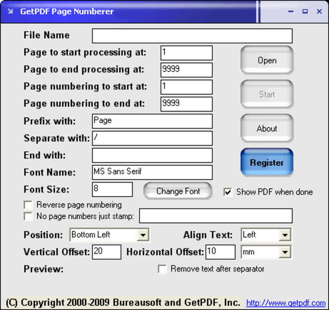 GetPDF Page Numberer Screenshot