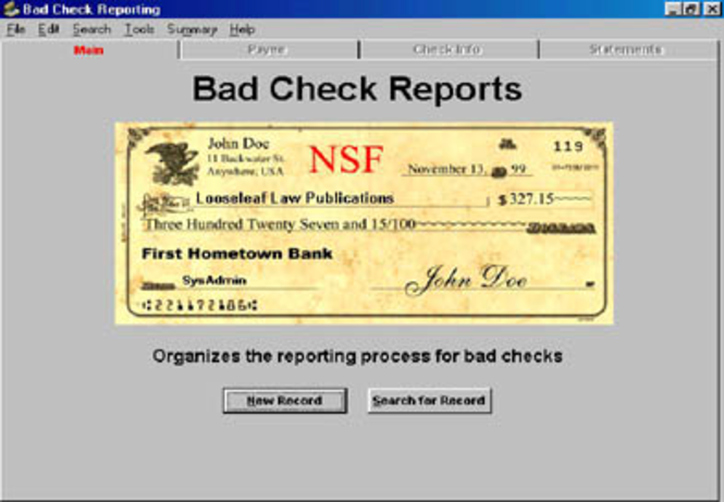Bad Check Recovery Program Screenshot