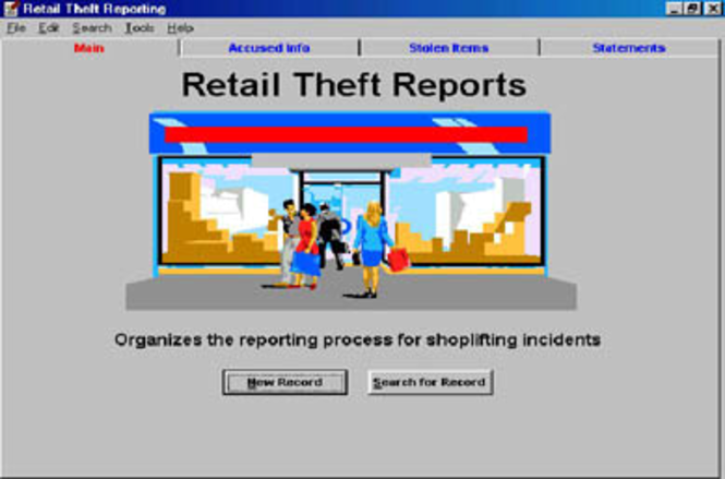 Retail Theft Report Program Screenshot