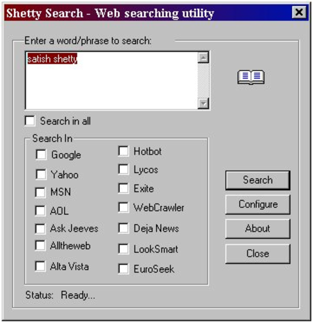 Shetty Search Screenshot