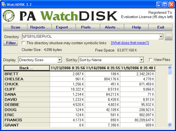 WatchDISK Disk Space Tracker Screenshot 1