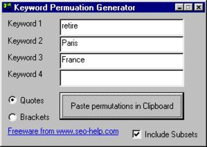Keyword Permutation Generator Screenshot
