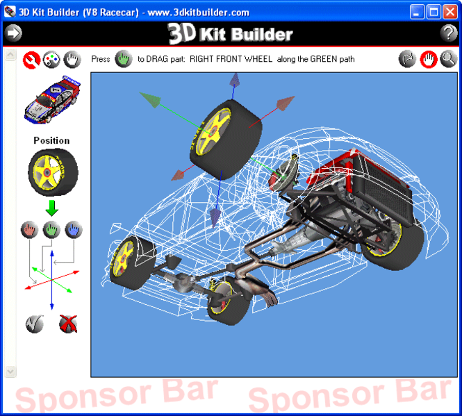 3D Kit Builder (V8 Racecar) Screenshot