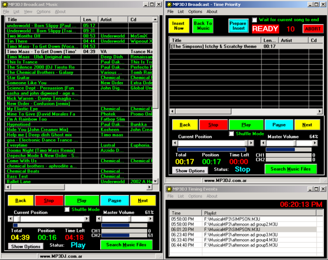 MP3DJ Broadcast Screenshot