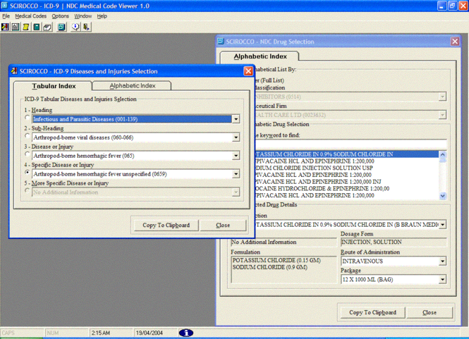 SCIROCCO ICD-9 / NDC Medical Code Viewer Screenshot