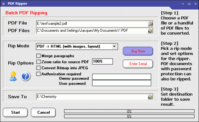 PDF Ripper Screenshot