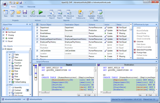 Apex SQL Diff Screenshot