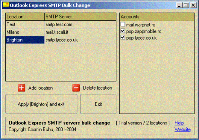 Outlook Express SMTP server changer Screenshot 1