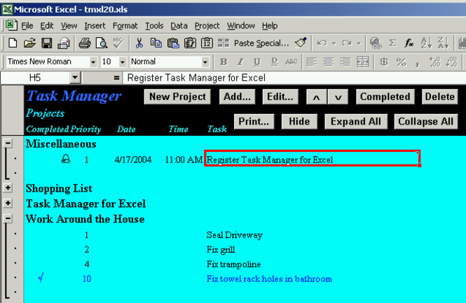 Task Manager for Excel Screenshot