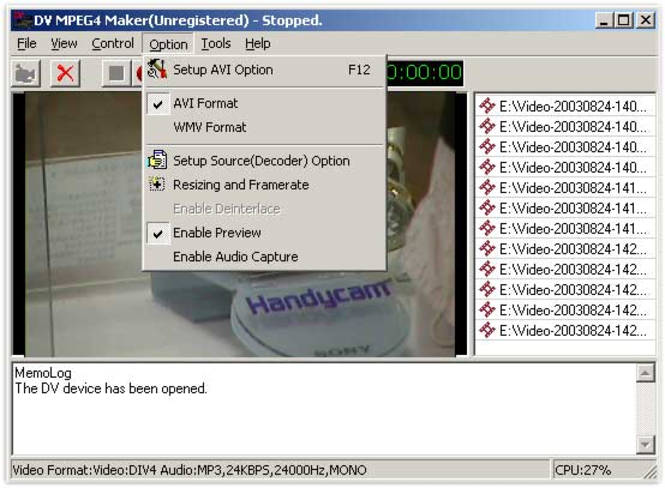 DV MPEG4 Maker Screenshot