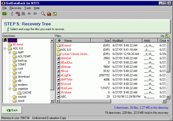 GetDataBack Data Recovery for NTFS Screenshot