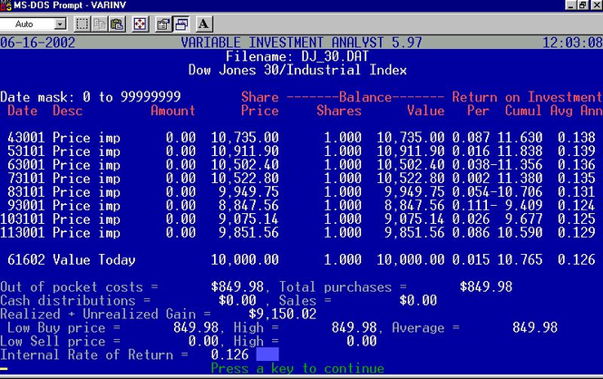 Variable Investment Analyst Screenshot