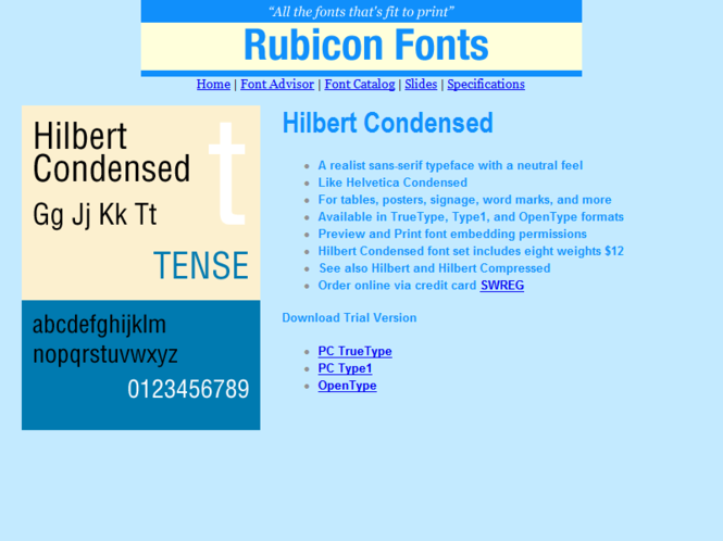 Hilbert Condensed Font TT Screenshot