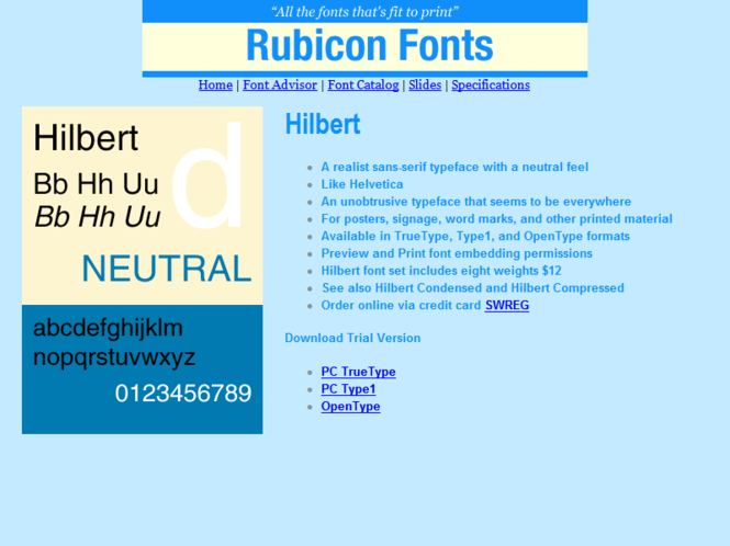 Hilbert Font TT Screenshot