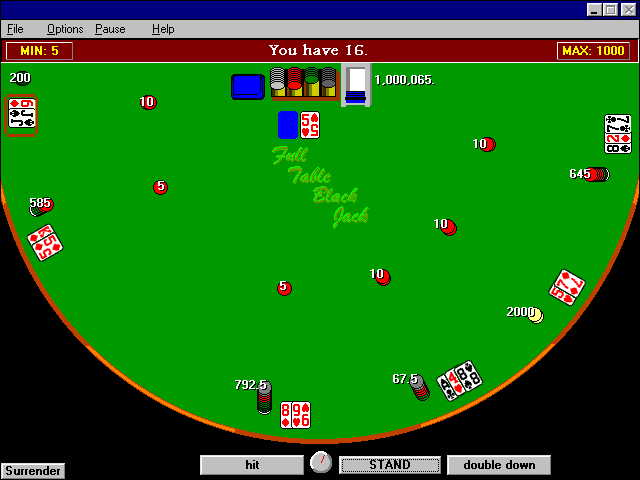 Full Table Black Jack Screenshot