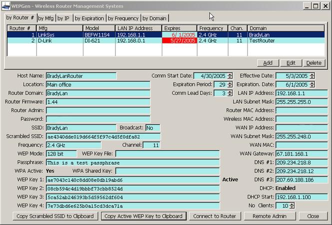Wi-Fi WEP Key Generator Pro Screenshot