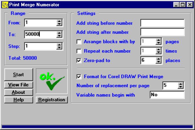 Print Merge Numerator - business license Screenshot