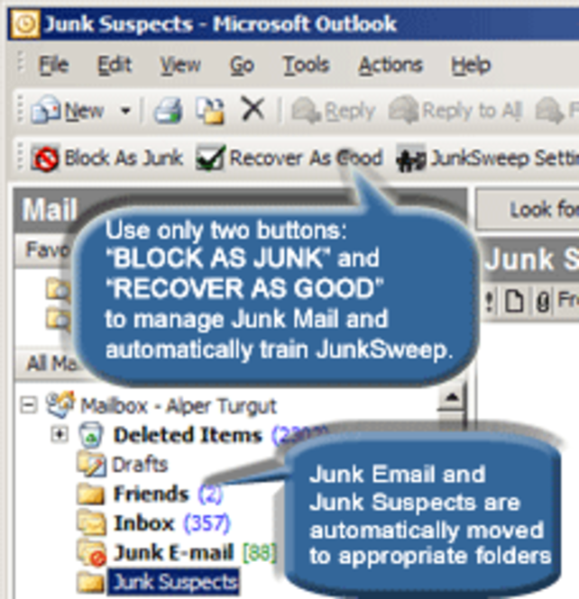JunkSweep Outlook Anti-Spam Screenshot