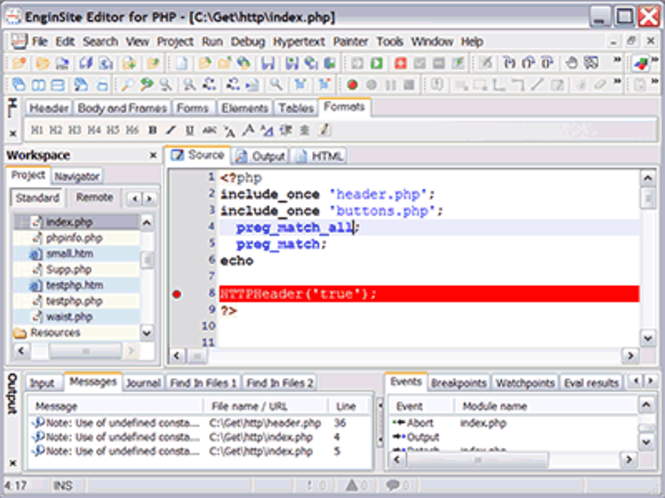 EngInSite PHP Editor (IDE) Screenshot