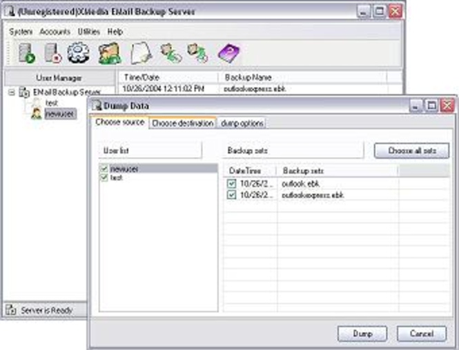 XMedia EMail Backup Enterprise Server Screenshot