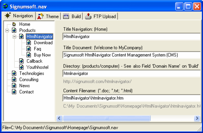 Signumsoft HtmlNavigator (CMS) Screenshot