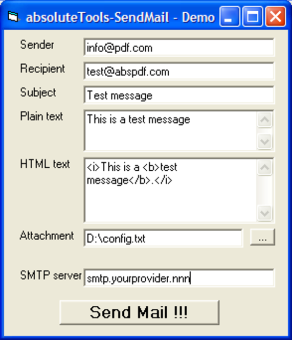 absoluteTools-SendMail Screenshot